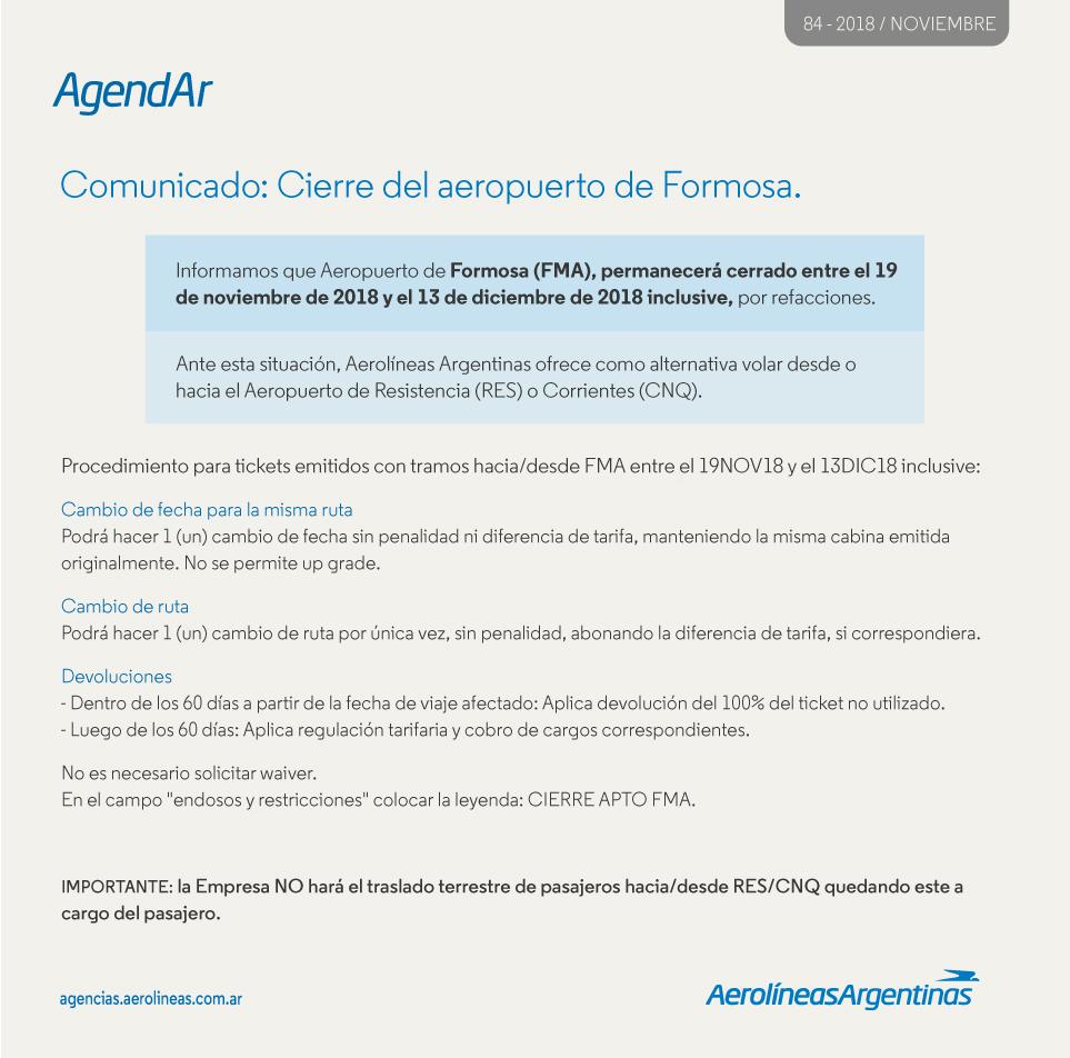 COMUNICADO: CIERRE DEL AEROPUERTO DE FORMOSA
